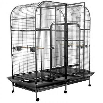 Large Twin Dual Double Pet Bird Cage Parrot Cockatoo Aviary On Wheel 173 CM High