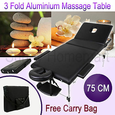 75 CM Aluminium Portable Massage Table 3 Fold Beauty Therapy Bed Waxing BLACK