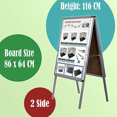 Double Sided A Frame Poster Stand Street Snap Sign Holder Sidewalk Display