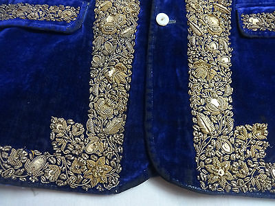Antique Real Silver Zardozi Royal Prince Child Coat Purple Velvet Collectible
