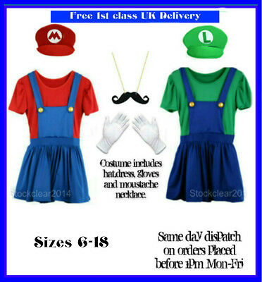 ladies Mario  Luigi fancy dress costumes womens size 6-16 hen
