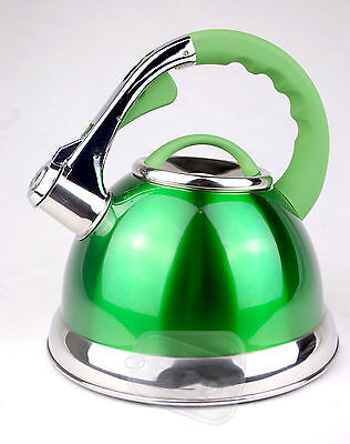 Whistling green stainless steel kettle whiseling gas electric 3.5ltr hob or GIFT