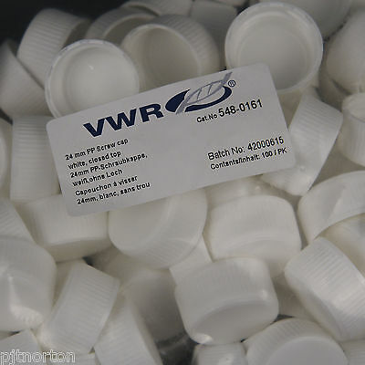 24mm white PP screw cap closed top ND24 - Pack of 100 VWR 548-0161