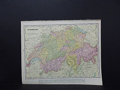 Map of Switzerland Italy George F. Cram 1899 Double-Sided W18#51