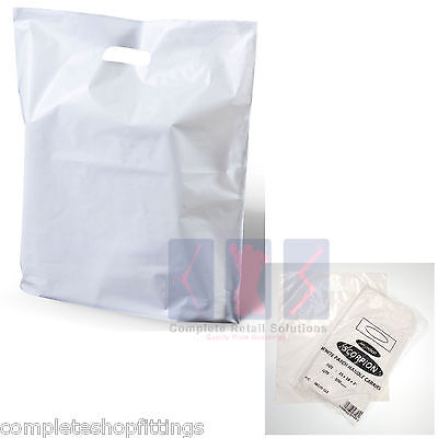 "50 White Patch Handle Carrier Gift Retail Shopping Plastic Bags 15"" x 18"" + 3"""