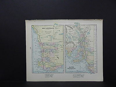 Map of West and South Australia New Zealand George F. Cram 1899 Dbl Side W18#47