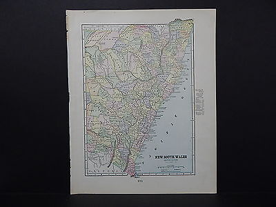 Map of New South Wales George F. Cram 1899 Double Sided W18#46
