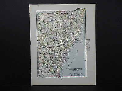 Map of New South Wales George F. Cram 1899 Double-Sided s5#13
