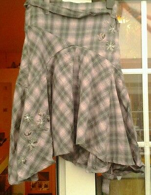 Next Pink & Charcoal Checked Handkerchief Hemmed Skirt - Aged 10 Yrs