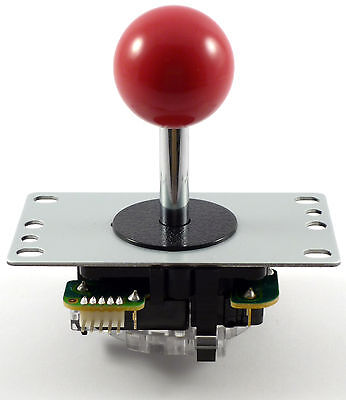 Genuine Sanwa JLF-TP-8YT Ball Top Arcade Joystick, 4/8 Way (Red) - MAME, JAMMA