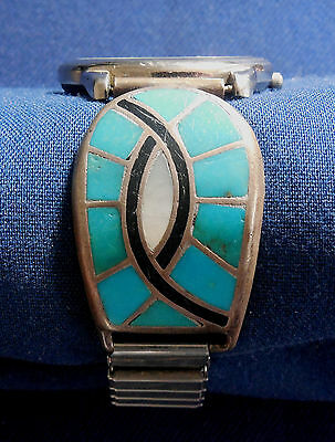 Zuni, Sterling Silver, Multi Stone Inlay, Vintage Watch Ends