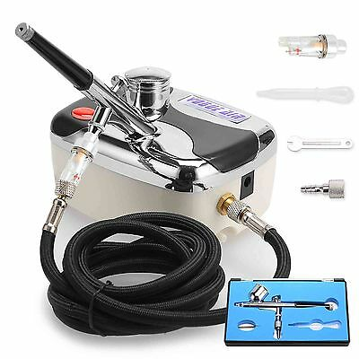 Air Brush Compressor Dual Action Spray Gun Airbrush Kit 0.3mm Needle Art Set New