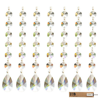 10 Clear Suncatcher Hanging Pear-shape Crystal Prism Feng Shui Drop Pendant 38mm