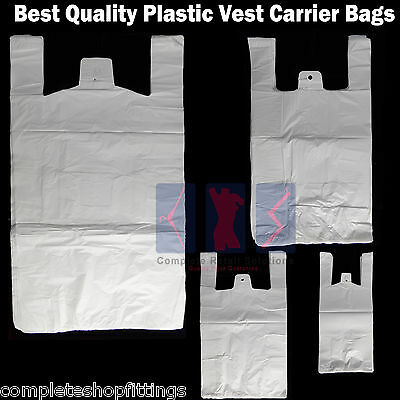White Plastic Vest Carrier Bags For Supermarkets Stalls Takeaway Shopping Bag