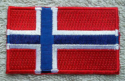 NORWAY FLAG PATCH Embroidered Badge Iron or Sew on 4.5cm x 6cm Norge Scandinavia
