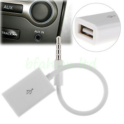 3.5mm Male AUX Audio Plug Jack To USB 2.0 Female Converter Cord Cable Car MP3 UK
