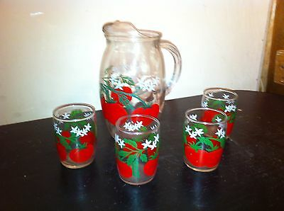 Vintage Libby Glass Pitcher and 5oz Drinking Glass set with tomatos