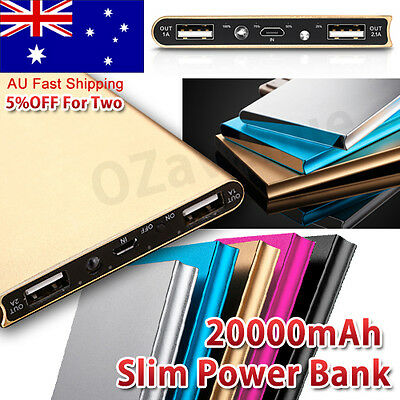 Portable Ultrathin 20000mAh 2 USB External Battery Power Bank Pack Charger Phone