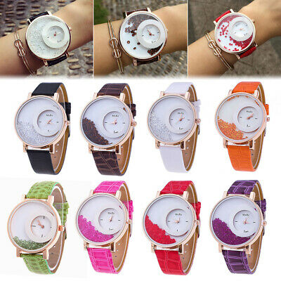 Women Quicksand Faux Leather Band Mxre Round Dial Analog Quartz Wrist Watch
