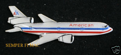 American Airlines Dc-10 Hat Lapel Pin Up Airline Pilot Crew Wing Gift Broach Faa
