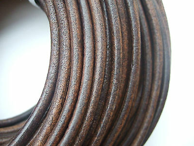 Dark Antique Bronze 5mm Round Genuine Soft Leather Finding Cord String Lace Rope