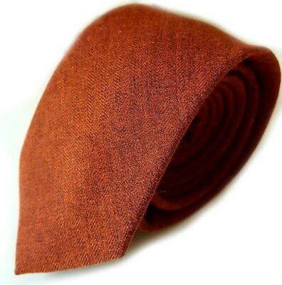 Luxury Gentlemens Dark Orange Brown Country Plain Skinny Tie Tweed Wool Style