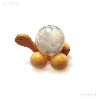 30mm Clear Glass Earth Marble on Wooden Turtle