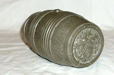 Old Tin drum 2 Mug from Ravensberg Family coat of arms 1726 Tin cup Beer keg