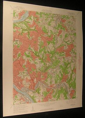 Braddock Pennsylvania Churchill Valley 1961 vintage USGS original Topo chart map