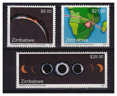 Zimbabwe 2001 Solar Eclipse Sg1050 To 1052 - Single Set