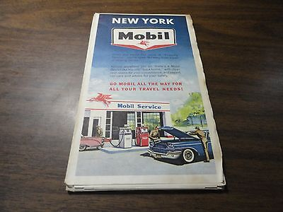 1963 Vintage Mobil Road Map For New York State
