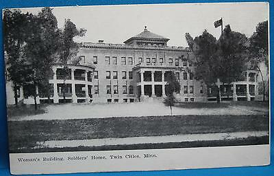 Womans Building Soldiers Home Twin Cities MN Souvenir Photo Print Postcard 1900s