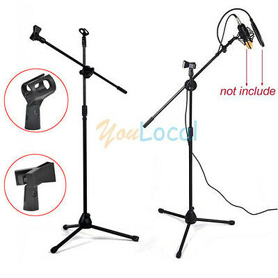 Microphone Mic Boom Arm Stand Tripod 360° Rotating Adjustable Folding w/ 2 Clips