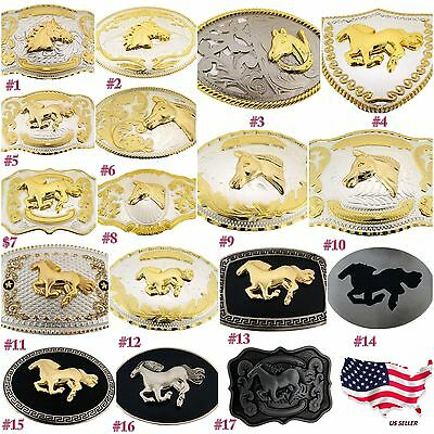 Horse Head Shoe Large Western Cowboy Rodeo Belt Buckle Men Texas Usa Womens New
