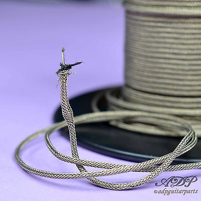 FIL BLINDE TRESSE VINTAGE 1xCONDUCTOR BRAIDED SHIELD CABLE GAVITT 22AWG 1m   10m