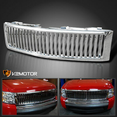 2007-2013 Chevy Silverado 1500 Chrome Vertical Front Bumper Hood Grill Grille