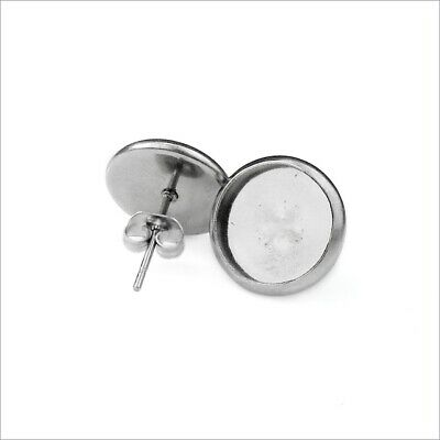 10 Pairs Stainless Steel Cabochon Setting Earring Stud Posts - Choice of Backing