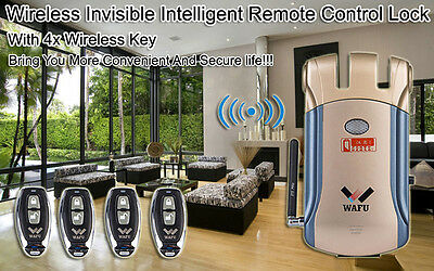 Wireless Invisible Smart Remote Control Lock + 4pcs Keyless Entry Security