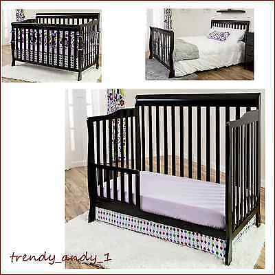 5-in-1 Crib Convertible Baby Nursery Variable GUEST Pine Wood Furniture Home