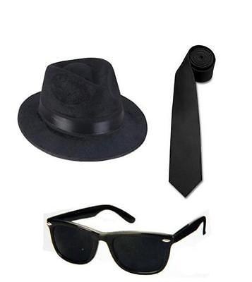 2 BLUES BROTHERS FEDORA HATS + 2 BLUES BROS SUNGLASSES + 2 TIES Free Shipping