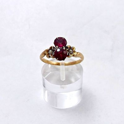 VICTORIAN 10K YELLOW GOLD 1.0 ctw RUBY SEED PEARL RING Sz 6.5 - 2.1gr