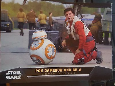 2015 Topps Star Wars The Force Awakens Movie Scenes #19 Poe Dameron and BB-8