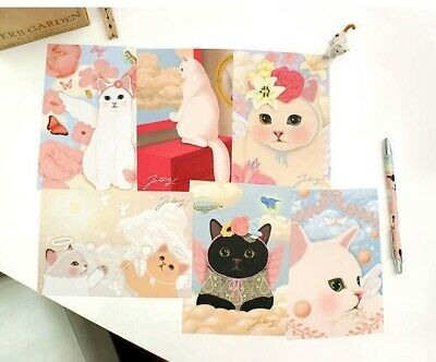 6 x Cute Cat Postcard Card Invitation Present Toppers - 6 Sets To Choose From