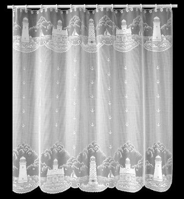 "Heritage Lace White ""LIGHTHOUSE"" Shower Curtain s"