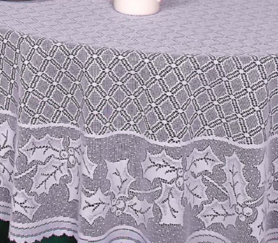 "Heritage Lace WHITE  70""x90""  HOLLY VINE Christmas Tablecloth Holly & Berries"