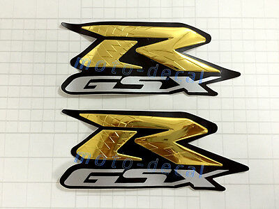Raised 3D Chrome Suzuki GSXR750 600 1000 Gold Streak Decal Fairing Sticker Bling