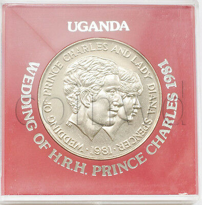 Uganda 10 shillings 1981 The wedding of Prince Charles in a case UNC (# 1642)