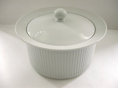 DANSK BISSERUP WHITE Ribbed 3 QT Covered Casserole Serving Bowl  Lid  REFSGAARD