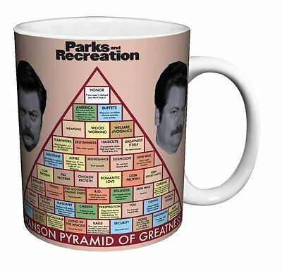 "PARKS AND RECREATION ""SWANSON PYRAMID"" 12 oz COFFEE MUG  NEW in BOX"