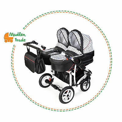 Baby Pushchair Pram Twin Double Travel System Buggy  Optional  Two Car Seat